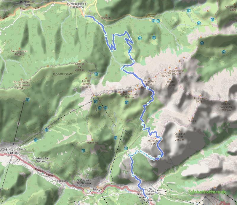 071010 St. Magdalena - Geißleralm - Regensburger Hütte - Panascharte - Stevia - Wolkenstein 23 km