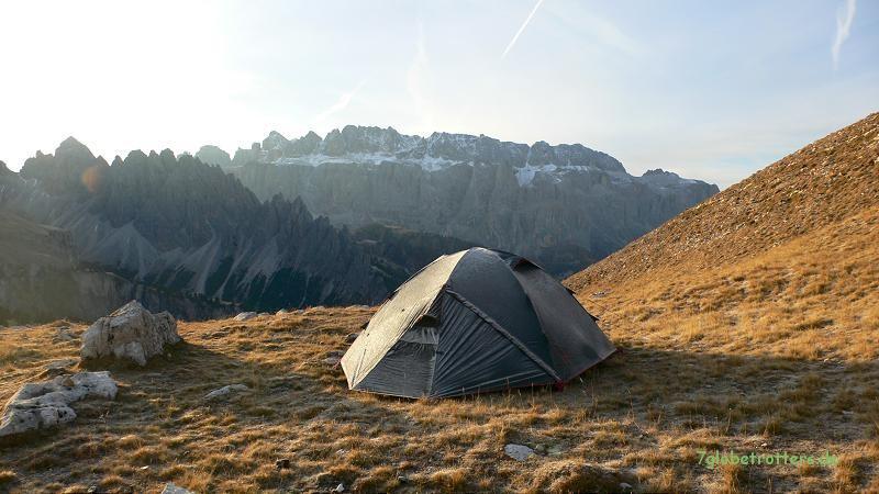Eisiger Morgen auf der Puezgruppe, Blick zur Sella