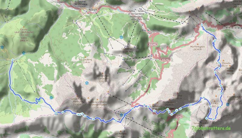 081027 Grödner Joch - Boe - Sellapass - Plattkofel - Seiser Alm 28 km