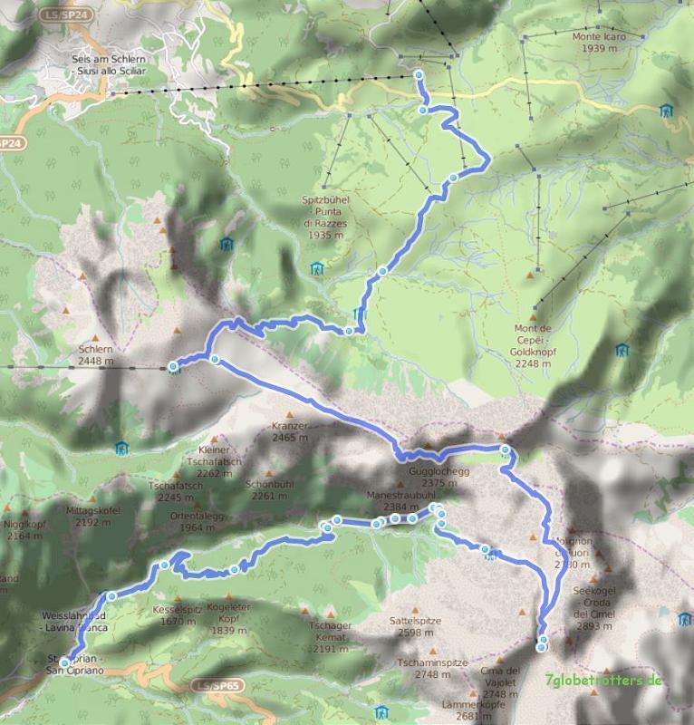 091013 Dolomiten 05 Seiser Alm - Schlern - Tierser Alpl - Grasleitenpass - St. Zyprian, 30 km