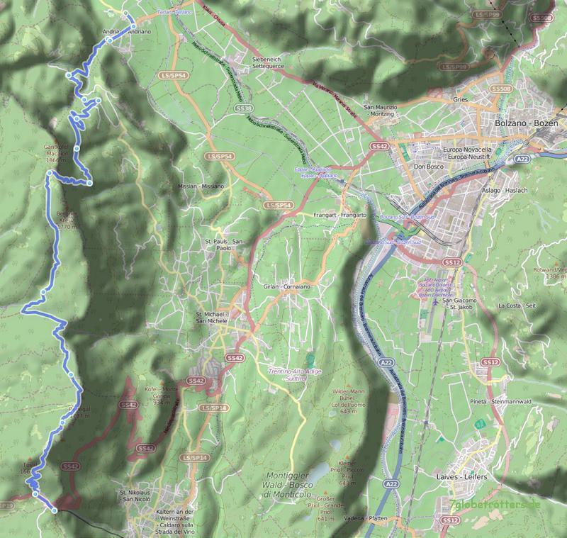 Andrian - Gantkofel - Mendelpass, 22 km, Anstieg 1.900 m, Abstieg 900 m (Karte: OpenStreetMaps, gpsies.com)