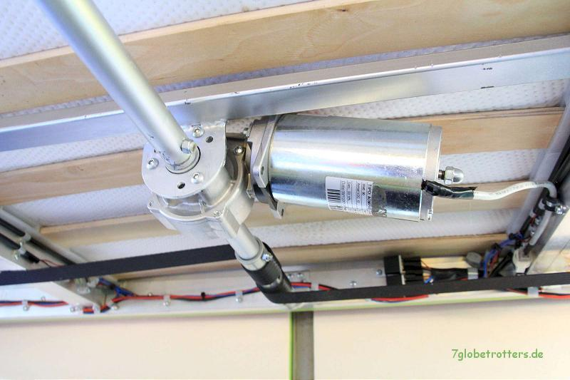 Kernstück der Hubbett - Mechanik: Antrieb der Zentralwelle und der Gurtaufwicklung mit einem Getriebemotor