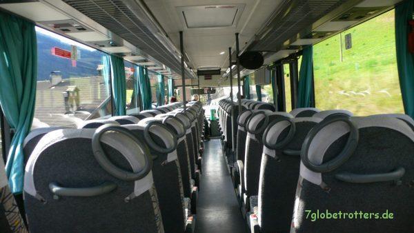 Endlich wieder im Bus sitzen