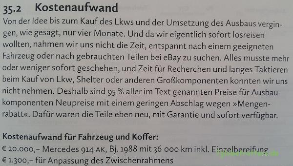 Ulrich Dolde, S. 497: Kosten für den Selbstausbau eines Expeditionsmobils