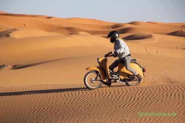 1984er Simson Schwalbe im Wüstensand am Erg Chebbi