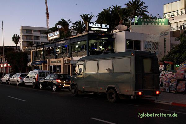 Kein guter Stellplatz am Marineheim in Agadir