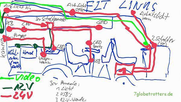 Werk- und Montageplan für die Elektroarbeiten der linken Seite im Wohnmobil