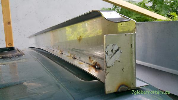 Anprobe des Vorderteils vom Dachrahmen