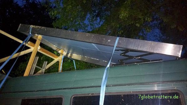 Hilfskonstruktion zur Montage der Schlafdachscheren auf dem Kastenwagen