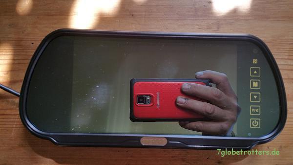7-Zoll-Spiegelmonitor für dieRückfahrkamera auf dem Kastenwagen