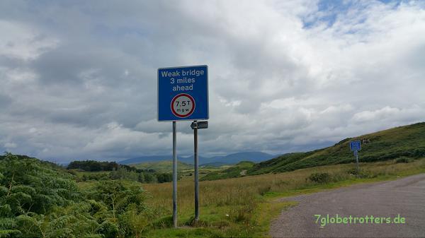 Viele Straßen, Brücken und Ortsdurchfahrten in England und Schottland sind nur bis 7,5 Tonnen erlaubt