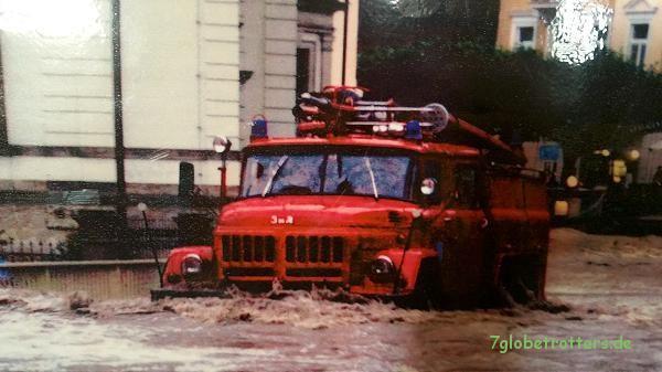 Russischer Zil 131 als TLF 24 im Hochwassereinsatz am 07.08.2010 in Bad Schandau (Quelle: Museum Neumannmühle)