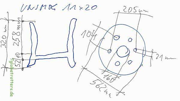 Einpresstiefen und Lochabstand der 6-Loch-Felgen vom Unimog