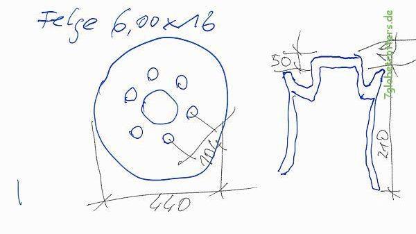 Maße der originalen Felgen vom Kastenwagen