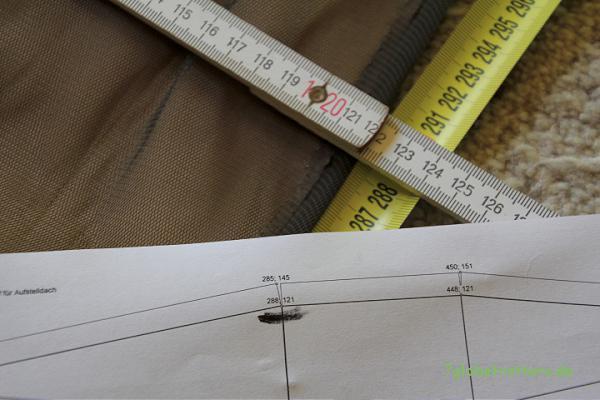 Jeder Zuschnittpunkt auf dem Dachzelt / Mückennetz hat eine xy-Koordinate
