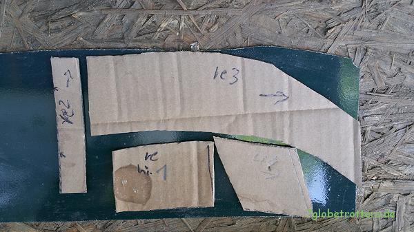 Schablonen für die Blech Zuschnitte, um den Rost am Radlauf entfernen zu können