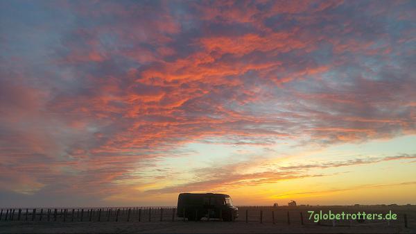 Sonnenuntergang am Plage de Piemanson, Ostern 2016