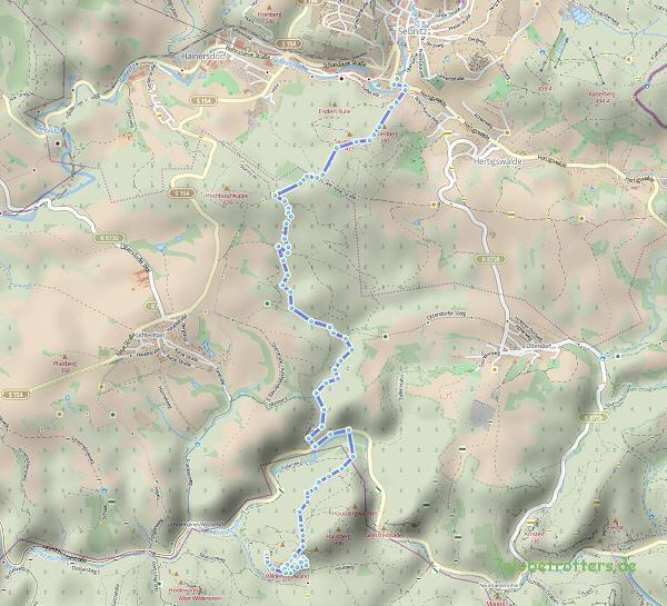 Wanderkarte von Sebnitz ins Kirnitzschtal und zum Kuhstall (8 km/ Karte: hikebikemap)