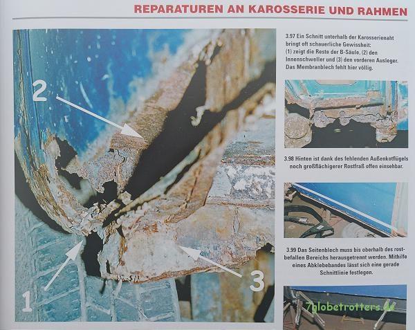 Die Reste der B-Säule (VW Bus T2 Schrauberhandbuch, S. 45)
