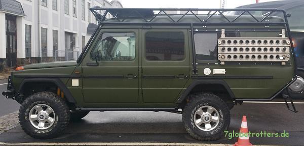 Verlängerter Mercedes G Camper als Geländewohnmobil (Basis wohl Binz KTW)