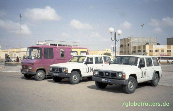 UN-Fahrzeuge in Laayoune Plage/ Westsahara