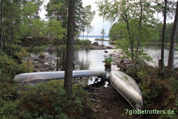 Kanutour mit Kindern in Schweden: Anlegestelle Glaskogen