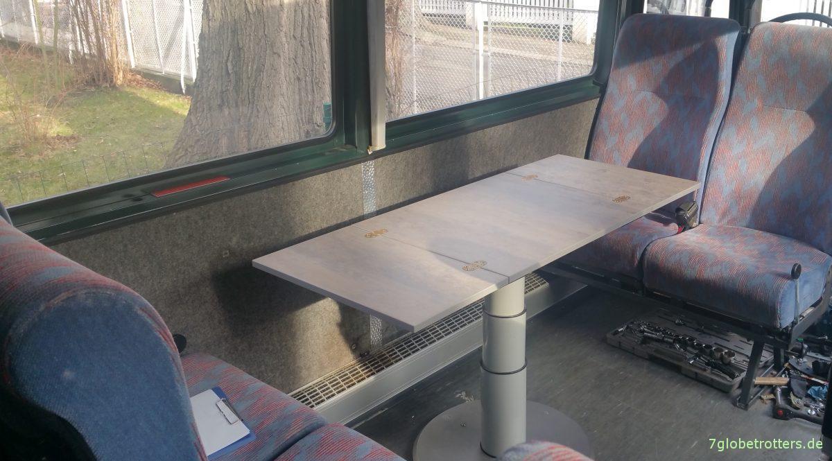 Wohnmobil tisch selber bauen und ohne st tze an die decke h ngen for Tischplatte selber bauen