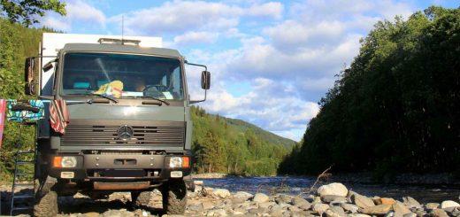 Die Wasserversorgung mit Brauchwasser ist oft kein Problem: Expeditionsmobil Mercedes MB 1124 AF