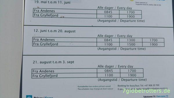 Abfahrtszeiten der Fähre von Andenes zur Insel Senja / Gryllefjord