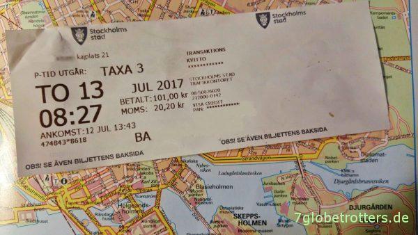 Parkticket für das Parken in Stockholm mit dem Wohnmobil