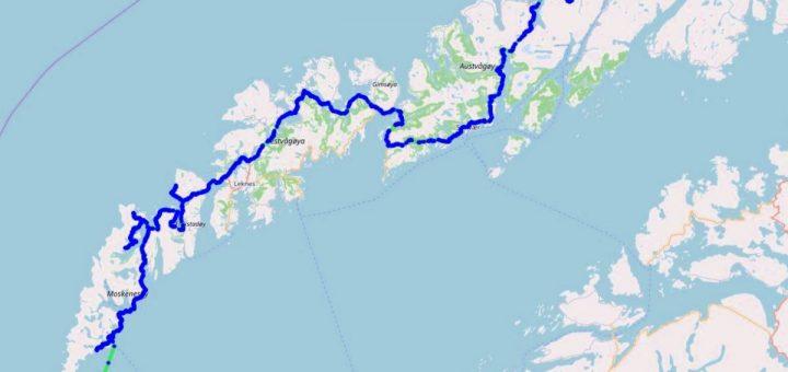 Karte der Lofoten mit Route