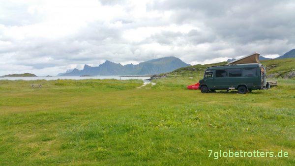 Fast wie frei stehen: Campingplatz Fredvang / Lofoten