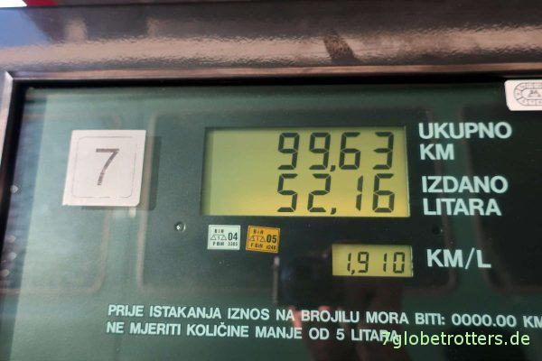 Bosnien-Herzegowina: Dieselpreis in Mostar