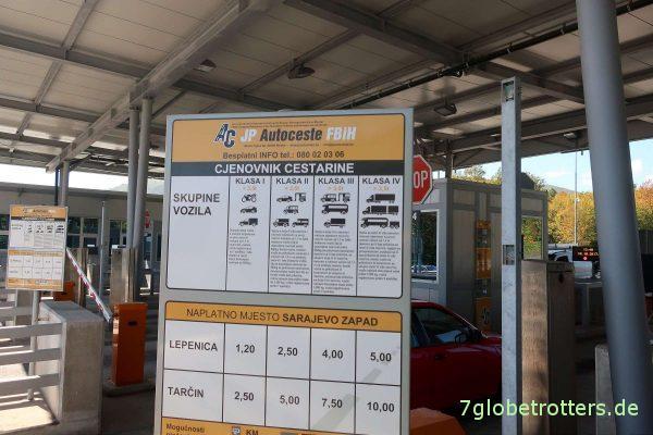 Bosnien-Herzegowina: Mauttarife auf der Autobahn