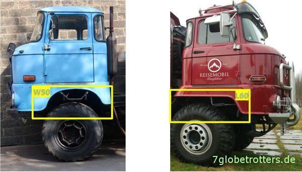 IFA W50L und IFA L60 Unterschiede Fahrerhaus Seite