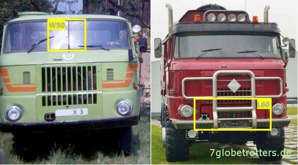 IFA W50L und IFA L60 Unterschiede Fahrzeugfront