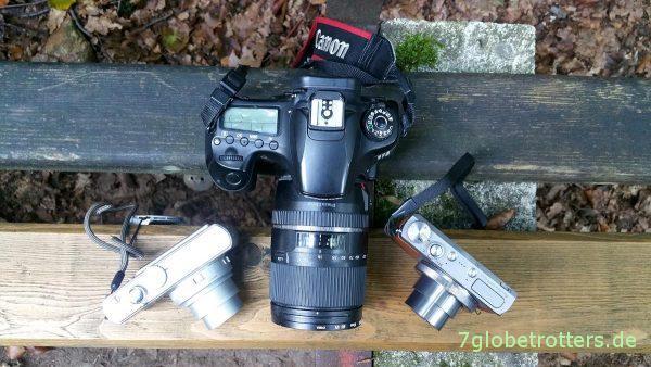 Kameravergleich D-LUX2, Canon PowerShot G9X, EOS 60D von oben