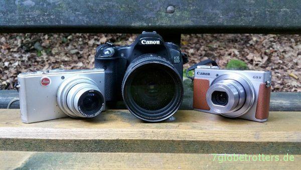 Kameravergleich D-LUX2, Canon PowerShot G9X, EOS 60D von vorn