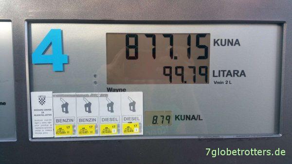 Was kostet der Diesel in Kroatien?