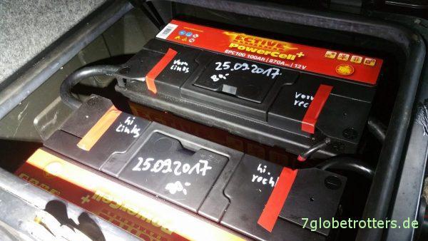 Einbau neuer Ective Autobatterien unter dem Fahrersitz