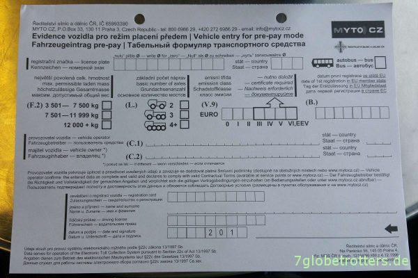 Tschechien: Formular der Mautbox