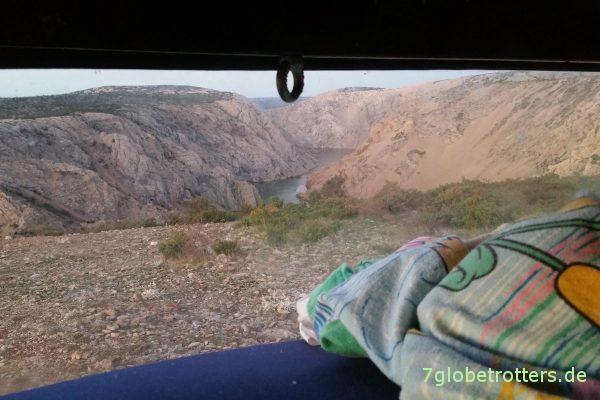 Blick aus dem Hubbett auf den Rio Pecos
