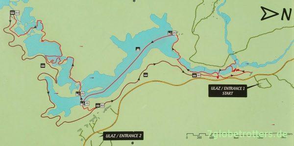Karte der großen Runde um die Plitvicer Seen