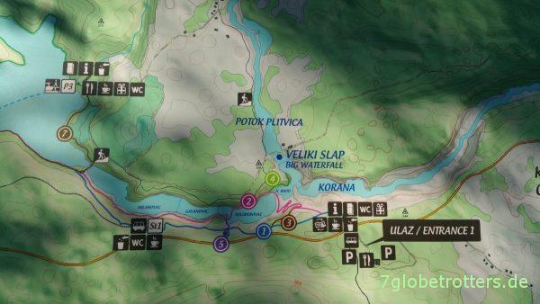 Kroatien: Übersichtskarte der Plitvicer Seen