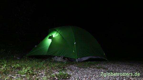 Zeltaufbau im Dunkeln: VaudeInvenio SUL 3P