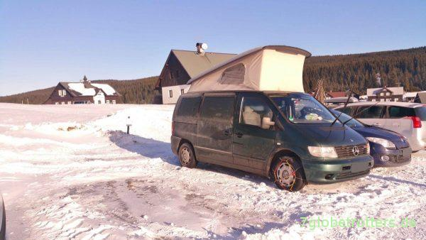 Isergebirge 2016: Campen bei -20°C im Mercedes Vito mit Aufstelldach