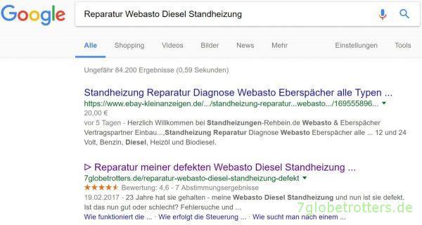 Suchergebnis Reparatur Webasto Diesel Standheizung