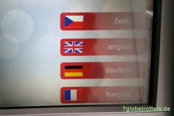 Kostenfalle Bankautomat: Sprachauswahl