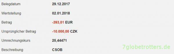 Tatsächliche Abbuchung der 10.000 Kronen: Ohne Gebühren meiner Bank