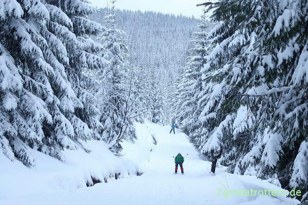 Abfahrt auf Langlaufskiern
